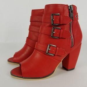 Michael Antonio Red Peep Toe Strappy Ankle Boot